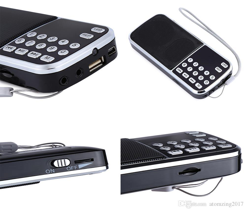 L-088 Mini Portable Music Player FM Radio Speaker With Flashlight Support TF Card LCD Screen Wireless Stereo Speaker