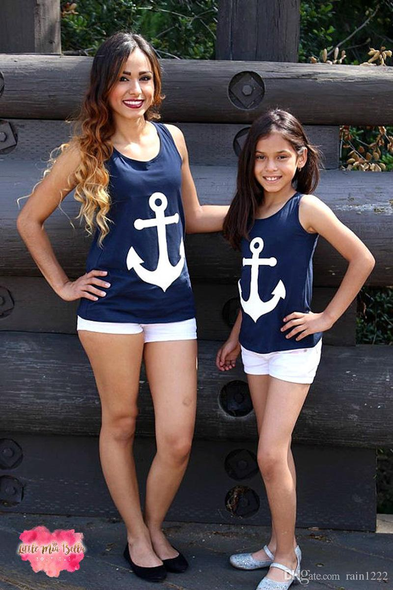 New Summer Mother Daughter Matching T-shirt For Parent-child Mom Child Kids Wear Cotton Sleeveless Shirts Tops Family Same Vest Outfits