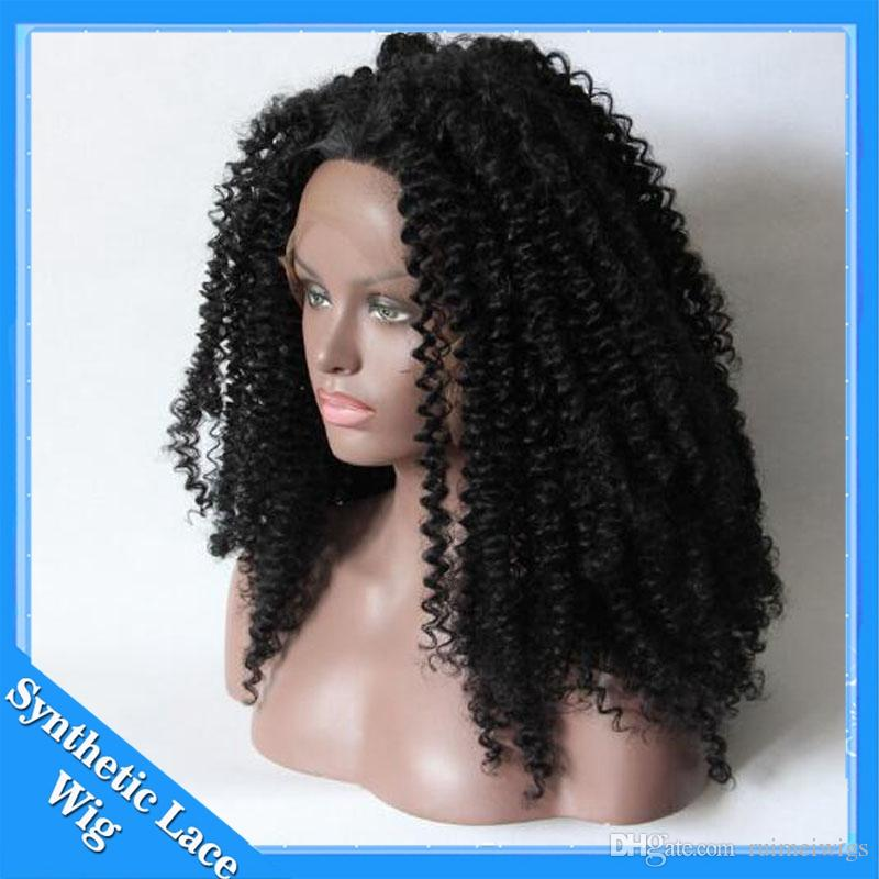 Cheap Synthetic Wigs Lace Front for Black Women Kinky Curly Heat Resistant Synthetic Wigs For Black Women Lace Front Wig Black