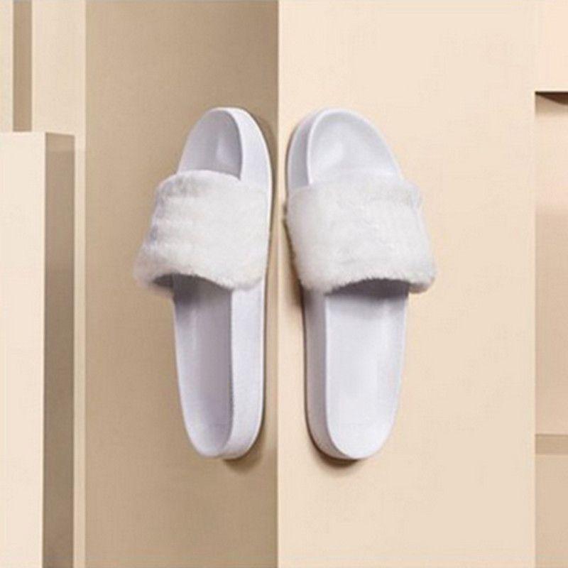 Leadcat Fenty Rihanna Ayakkabı Kadın Terlik Kapalı Sandalet Kız Moda Scuffs Pembe Siyah Beyaz Gri Kürk Slaytlar Kutusu Olmadan Yüksek Kalite