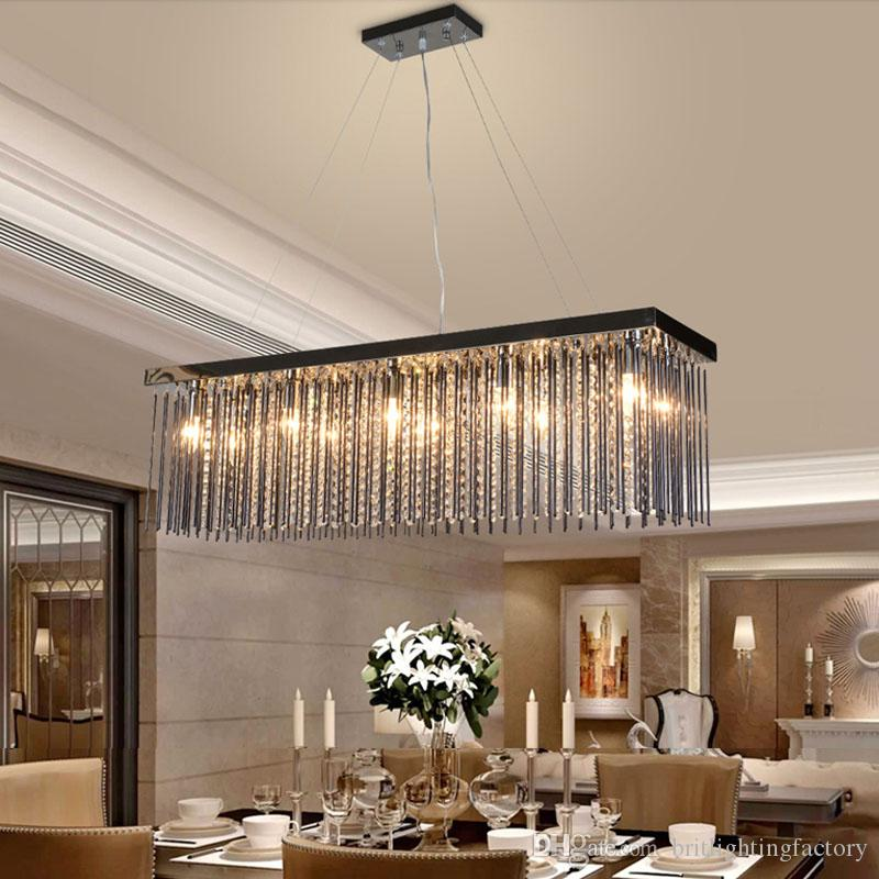 Discount Crystal Lamp Rectangular Dining Room Pendant Lights Hotel Hall Table Led Light Modern Bar Bedroom Hanging