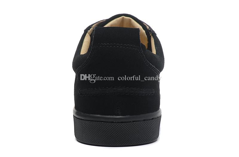 2017 Brand men sneakers Spikes Red Bottom Flat Casual Shoes Men Low Top Red Sole Studded Black Studs Rivet Male Casual Shoes