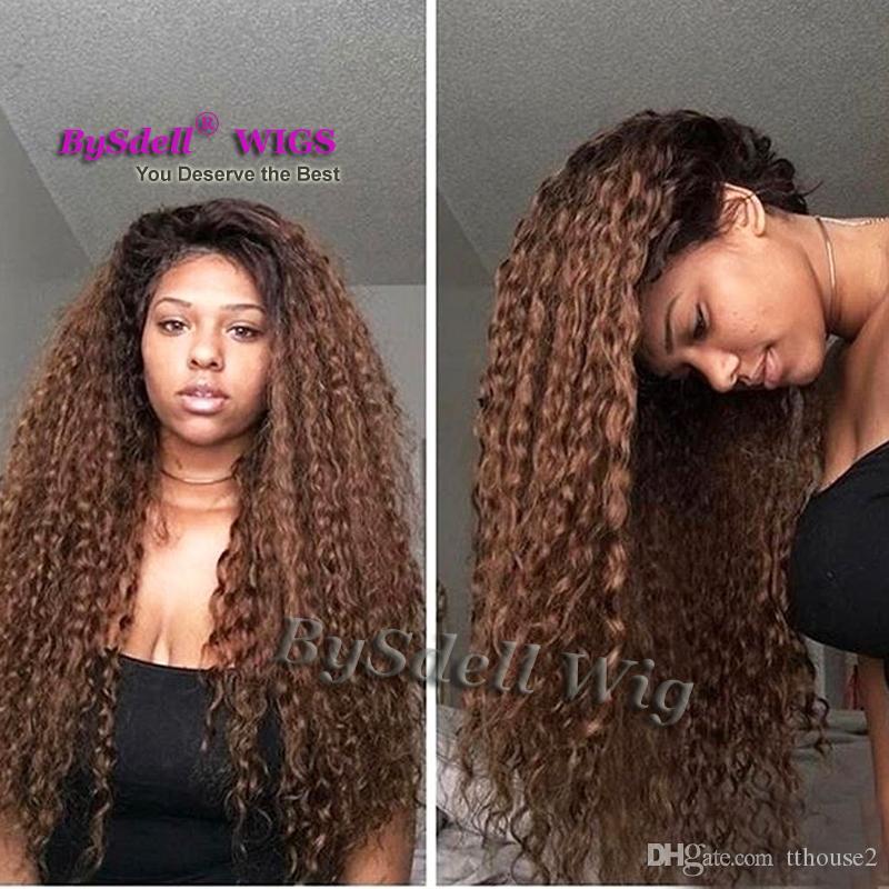 Deux tons noir ombre café brun couleur eau plage crépus cheveux bouclés perruque de dentelle perruques synthétiques avant de lacet pour la peau de chocolat femmes