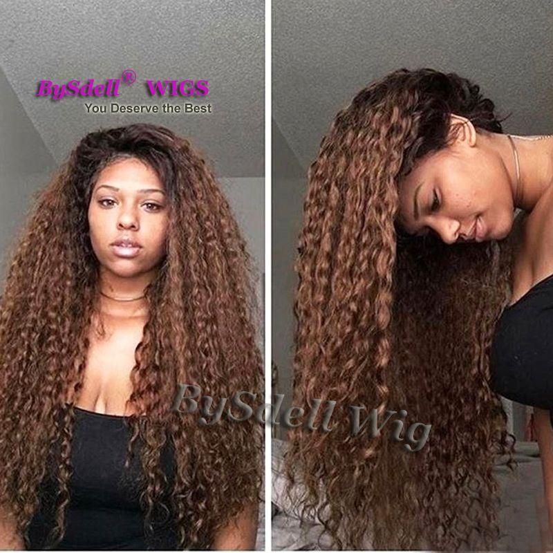 Dos tonos negro Ombre café color marrón playa de agua peluca rizada del  cordón del pelo rizado pelucas sintéticas del frente del cordón para la  piel del ... 04cf2fca4a47