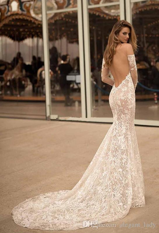 Long Sleeves Off the Shoulder Wedding Dresses 2018 Berta Bridal Sweetheart Neckline Elegant Sexy Open low back Lce applique wedding gown