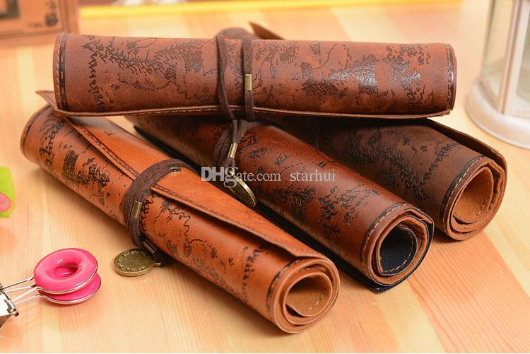 Lápis Sacos Treasure Map Pen Bag Antique Náutico caixa de lápis Big Capacidade Bag Lápis couro macio Caixas Mulheres Homens Bag Crianças WX-P01