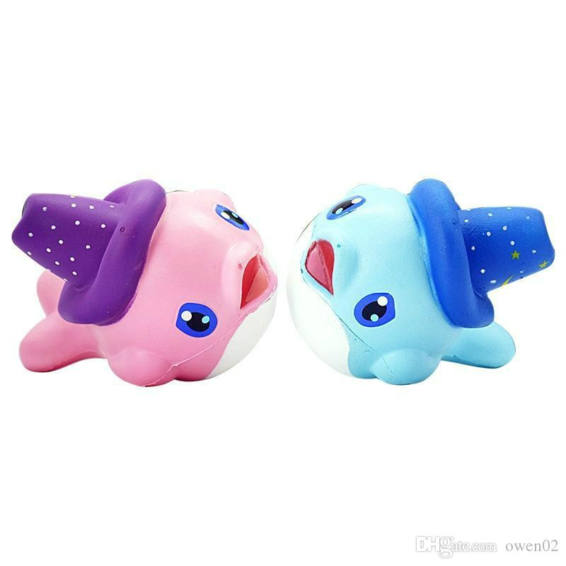 OLEEDA Kawaii Blue And Pink Dolphin Squishy Toy Soft Slow Rising Rebound Fidget Toy Cream Scented Squeeze Doll Kid Toy
