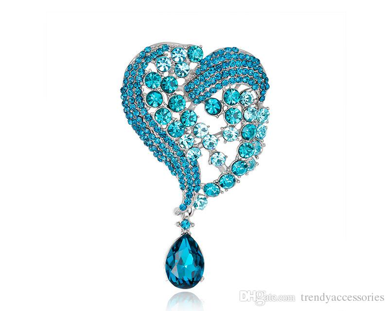 High Quality Love Heart Blue Water Drop Brooch for Women Setting Scarf Clip Shiny Crystal Rhinestone Brooch Pins Accessories