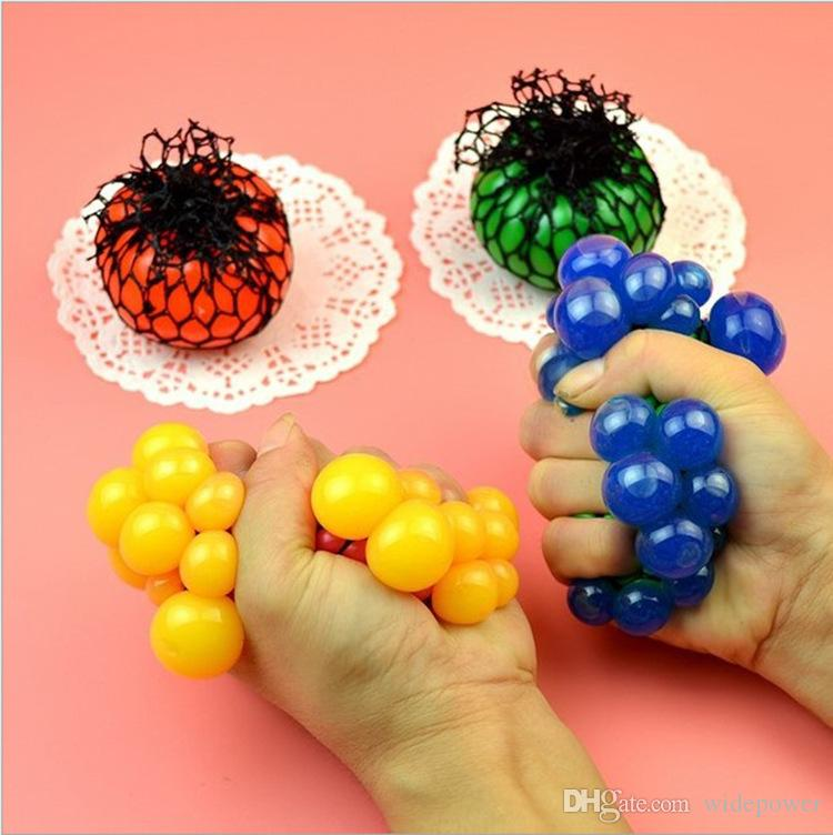 2017 PrettyBaby Cute Anti Stress Face Reliever Grape Ball Autism Mood Squeeze Relief Healthy Toy Funny Geek Gadget Vent Toy