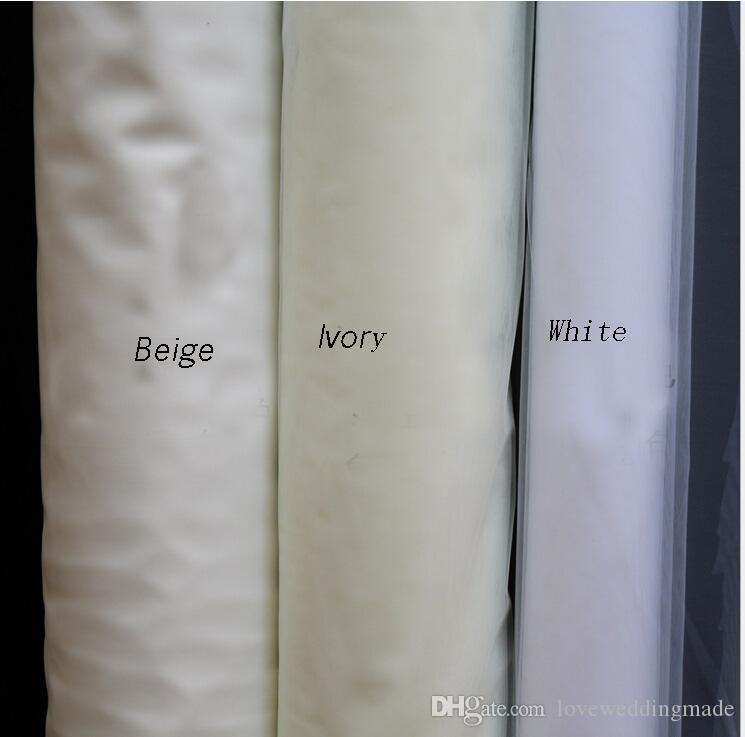 Baratos 2017 Blanco / Marfil / Beige / Champaña / Velos de novia rojos, 1.5 * 3M de largo capas largas con peine Velo de novia de tul suave simple