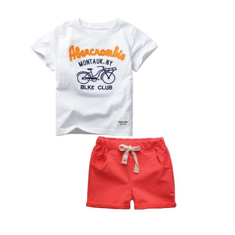 2017 Été 2-6 Ans Enfants Bébé Garçons Sport Marque Garçons Vêtements Set 100% Coton T-shirts Et Shorts De Bande Dessinée Enfants Vêtements