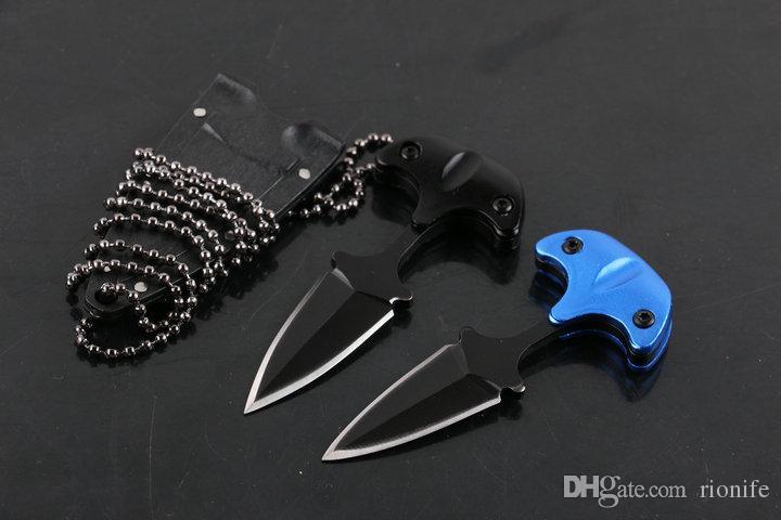 Mini tactique à froid en acier cou Couteau à lame fixe camping en plein air couteau de survie auto-défense porte-clés Portable FACA EDC-7.3cm Dans l'ensemble