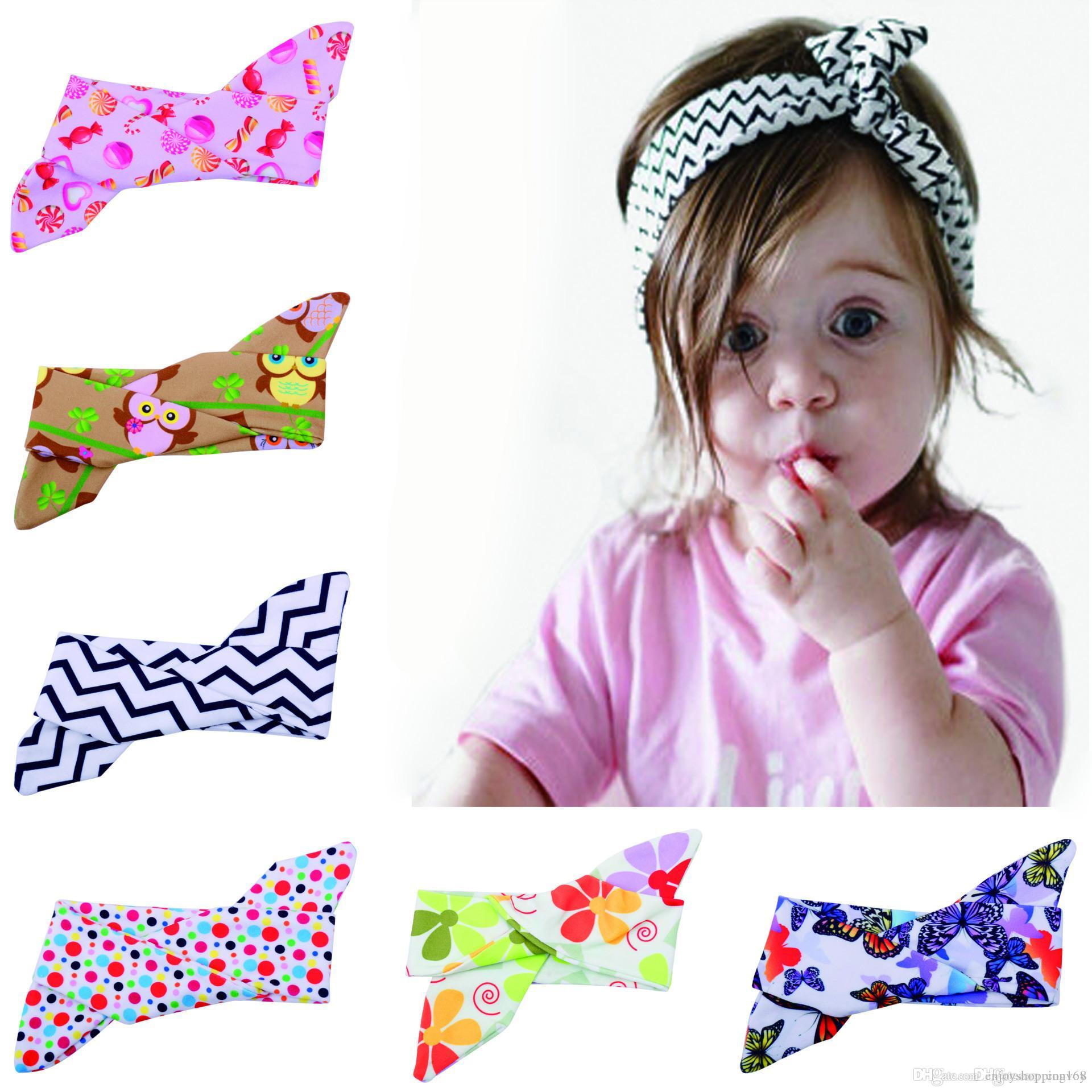 Baby Headbands Bowknot Girls Bunny Rabbit Ear DIY Hairbands Kids ... 4741af808076