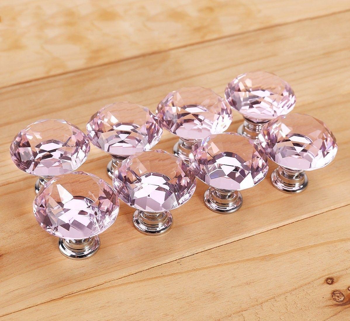 Прозрачный 30 мм тянуть ручку Алмазный Кристалл дверная ручка стеклянная ручка шкафа ящик блестящий полированный хром дверные ручки для шкафа 1 5jxR