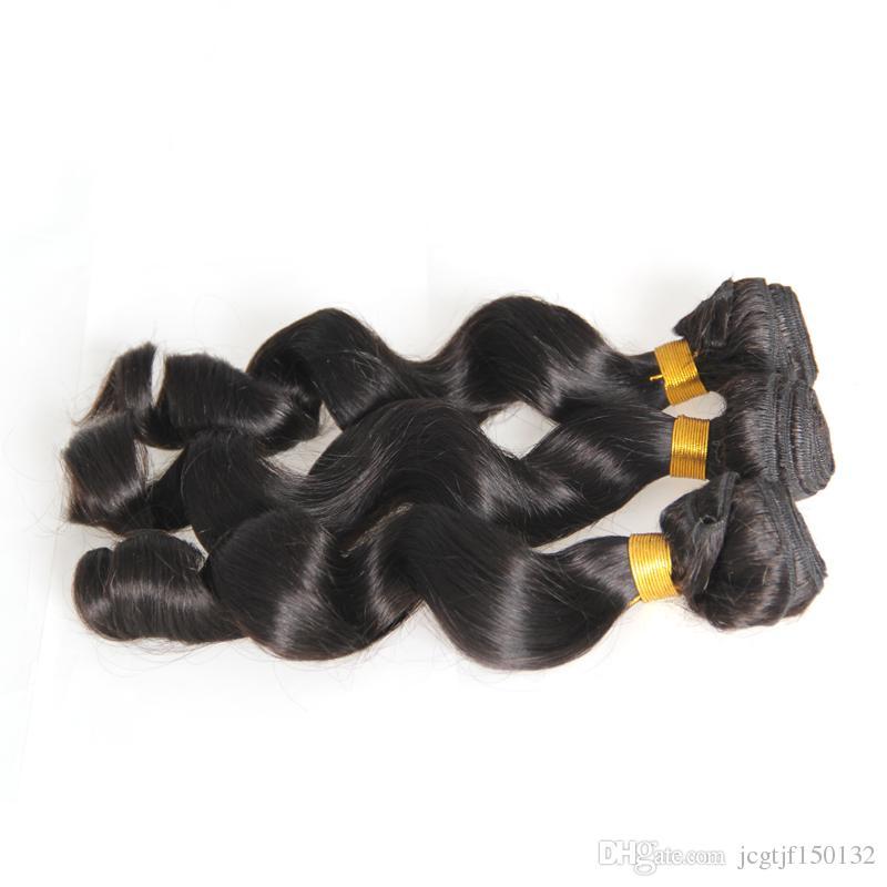Pacotes naturais do cabelo humano da onda solta 300g da cor natural pacotes do cabelo humano