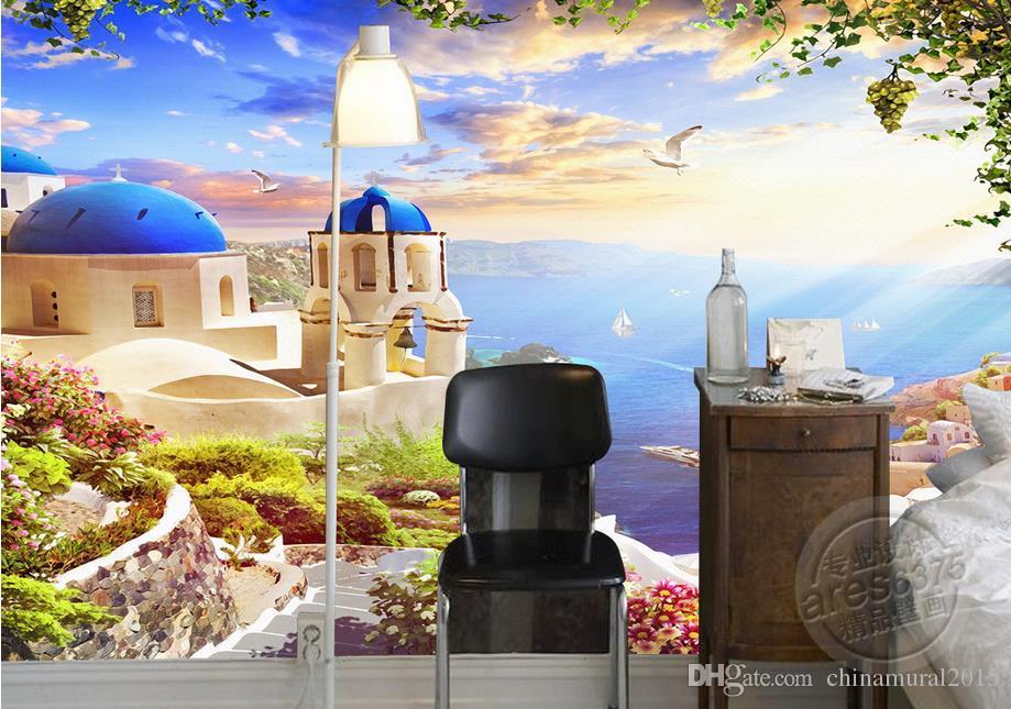 living style wallpaper Fantasy 3D Aegean Sea romantic castle sea gull ship murals custom photo murals