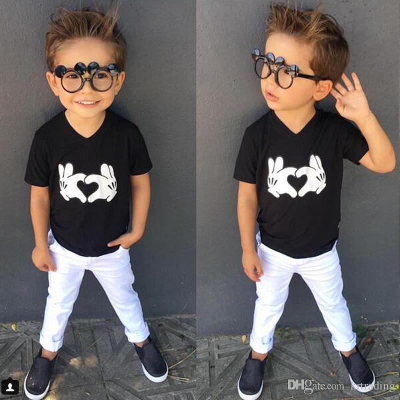 8b5ac6c776b 2019 Kids Loving Heart Gesture Printing T Shirt Set Black Print Top+White  Pants Boys Summer Short Sleeve T Outfits 1 4T From Krtrading