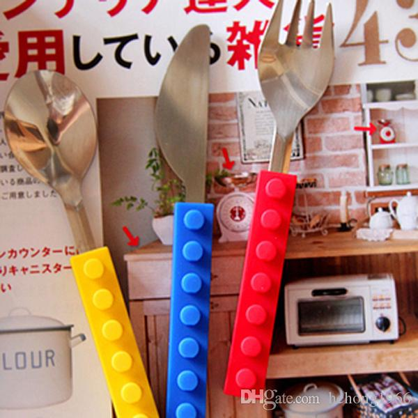 Kids Knife Fork Spoon Sets Building Blocks Silicone Forks Kit Stainless Steel Spoons Set Corrosion Resistance Knives Kits Creative 11yx R