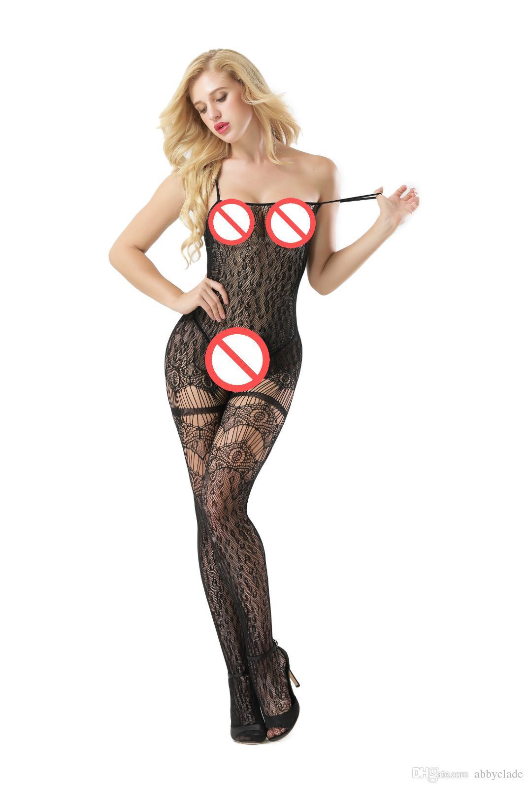Kadın seksi iç çamaşırı Fishnet Bodystocking Açık kasık catsuit oyuk Vücut örtüsü Erotik iç çamaşırı Porno kostümleri
