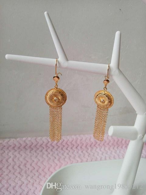 Presente ~ Atacado borlas Encantos Conjuntos de jóias 24 K Banhado A Ouro Amarelo Colar De Casamento Brincos Dubai Conjunto de Jóias Africano