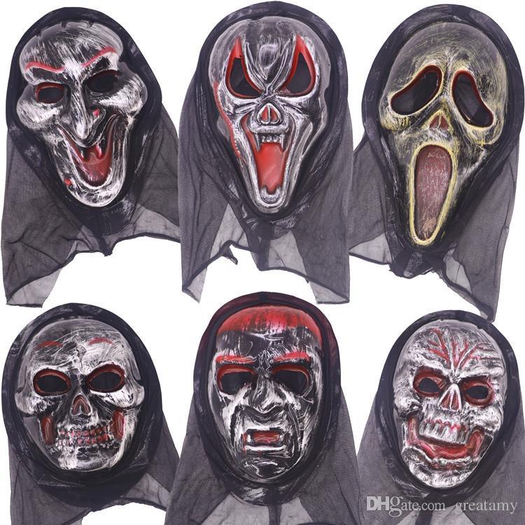Оптовая Хэллоуин маска длинное лицо череп призрак страшный крик Маска страшный ужас ужасная маска кричать ведьма анфас