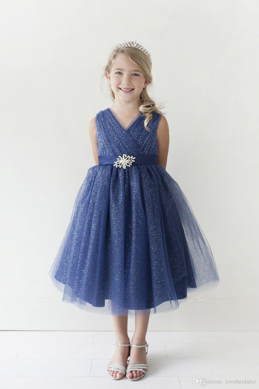 2017 новый темно-синий линия без рукавов V шеи тюль девушки цветка платье для свадьбы игристое театрализованное платье для девушки