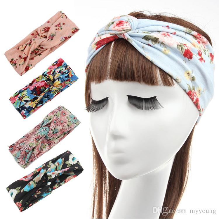 New Hot Women Knitted Knot Headbands Hairband with Floral Pattern ... 19c1170a6df