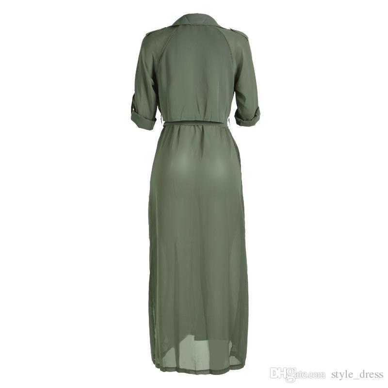 Fashion Spring Autumn Women Long Sleeve Side Split Maxi Coat Extra Long Trendy Chiffon Belted Cardigan Long Blouse