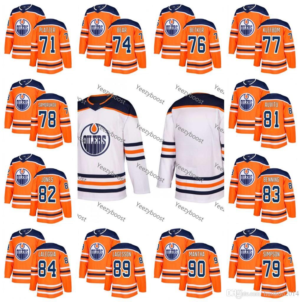save off 75da1 17708 Youth 100th Edmonton Oilers 2017-2018 78 Dmitri Samorukov 79 Dillon Simpson  81 Yohann Auvitu 82 Caleb Jones 83 Matthew Benn Hockey Jerseys