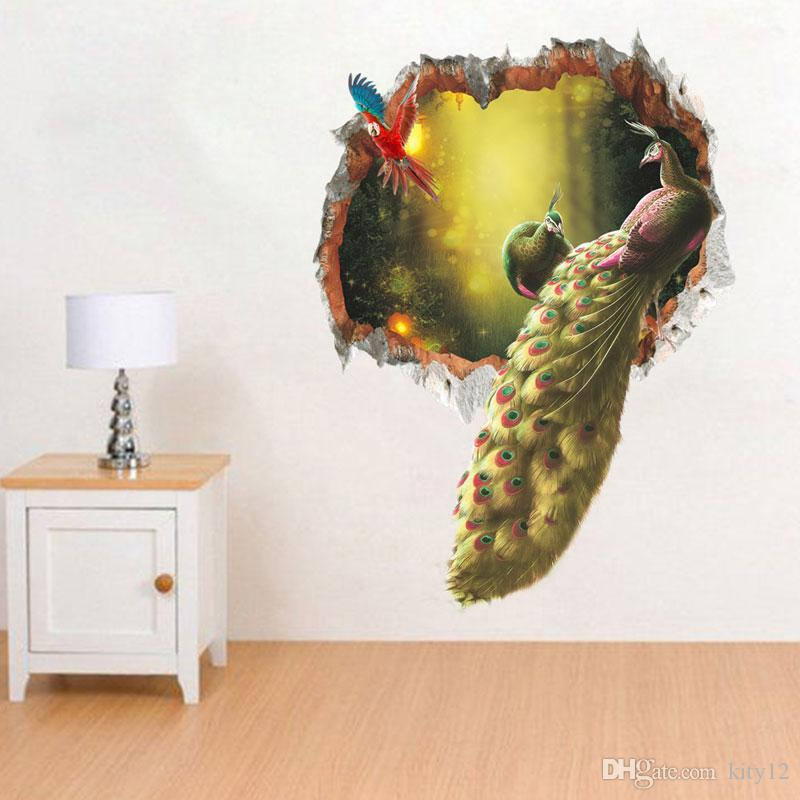 Peacock Wall Stickers Decal Home Decor Wall Mural Poster Secret Garden Living Room Study Wall Paper Art DIY Home Decor