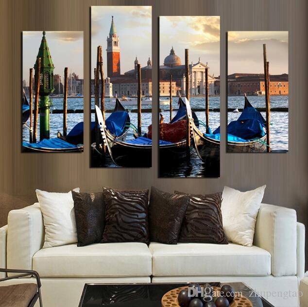 Pinturas de Decoração moderna O Rio Vltava Paisagem Pintura Da Lona Europeu Edifício Tradicional Parede Pictures Para Sala
