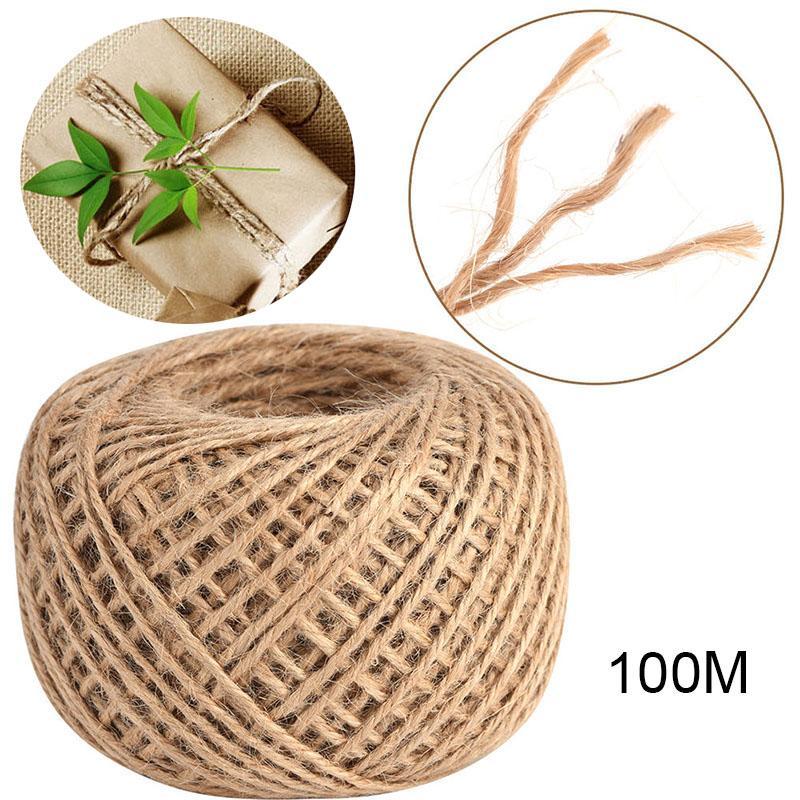 compre 100 m cuerda de camo cuerda de camo yute marrn natural colgar la etiqueta de la joyera que hace artesana fiesta cinta festiva del abrigo del - Cuerda De Caamo