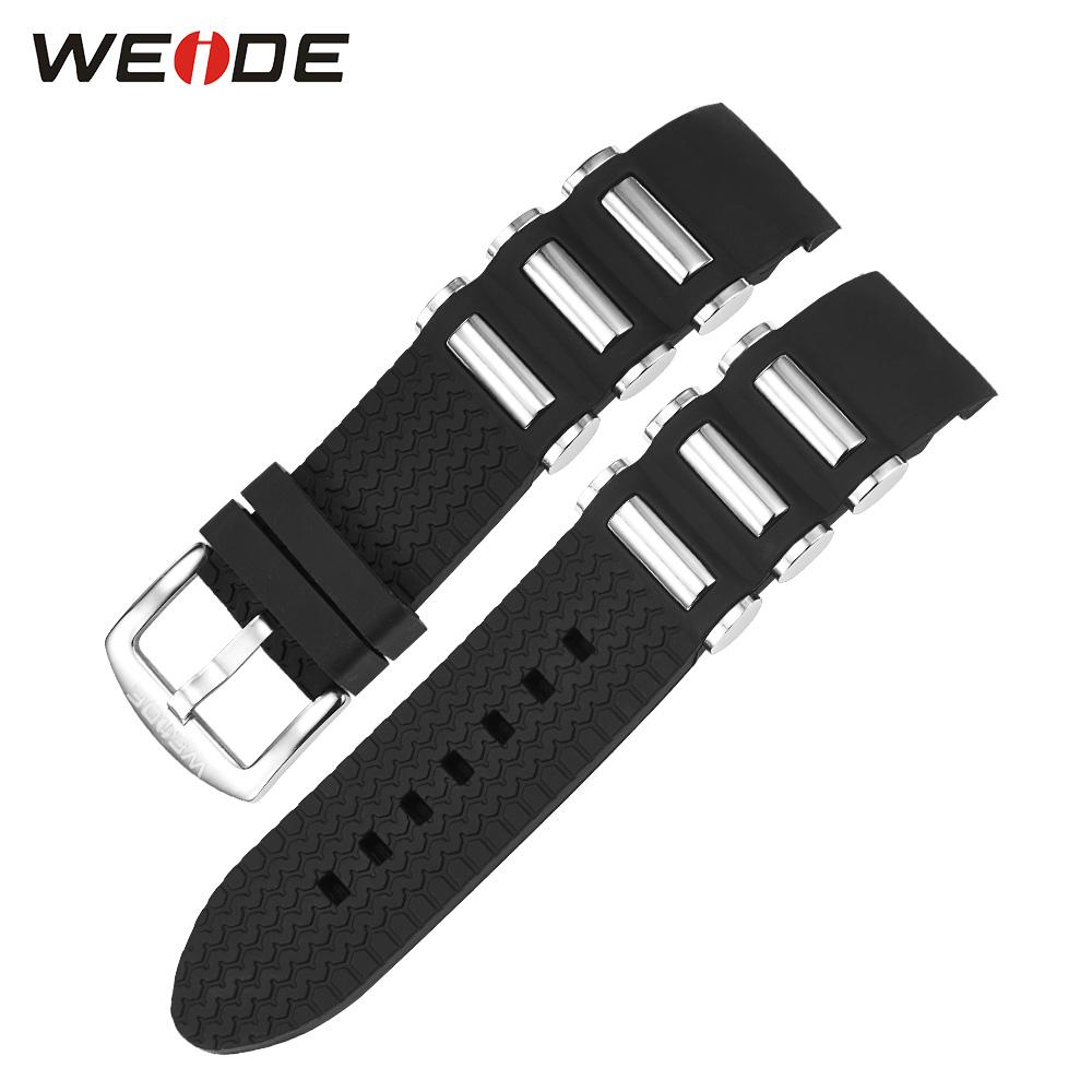 Wholesale- WEIDE Watch Band Black Silicone New Men Black Strap for Clock 21cm Clasp Buckle Suitable for WEIDE WH1104 Models
