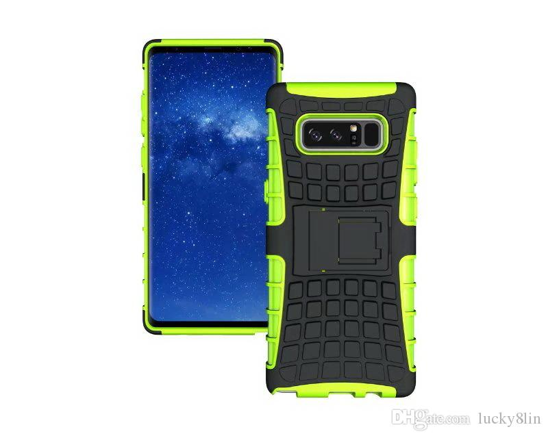 2in1 Custodia rigida ibrida in silicone PC rigido in silicone TPU con supporto supporto Samsung Galaxy Note 8 Custodia antiurto Custodia pneumatici