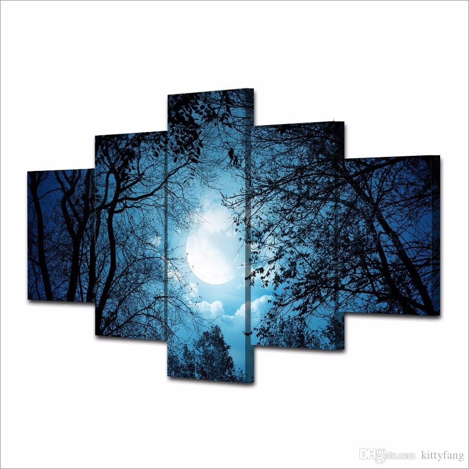 HD Printed Cloudy Sky with Tree Silhouettes at Night Painting Canvas Print room decor print poster picture canvas