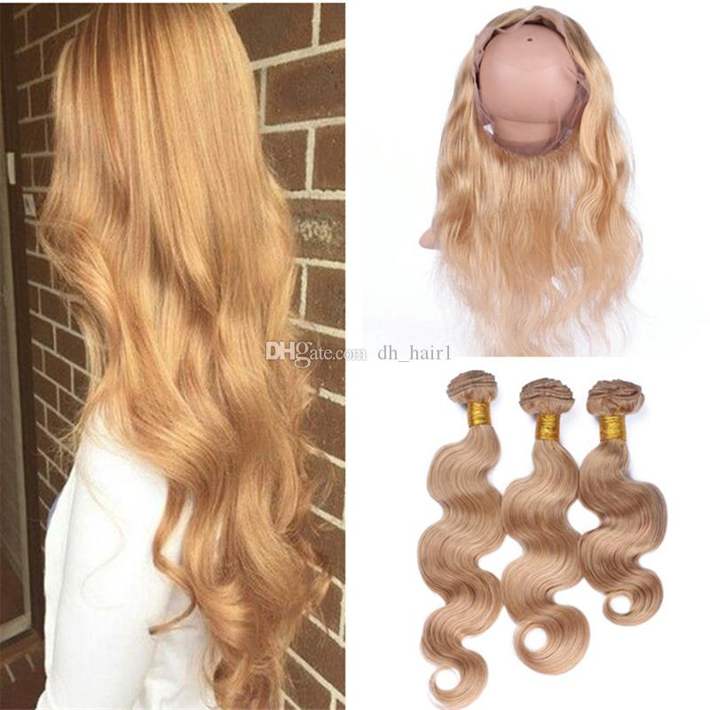 Color #27 Honey Blonde Virgin Hair With 360 Lace Frontal Closure With Blonde Hair Bundles Strawberry Blonde Body Wave Hair Weaves With 360