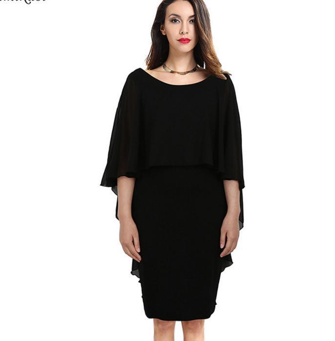 Plus Size S To XXXXL Chiffon Cloak Batwing Party Evening Bodycon Pencil Dresses Black Green Navy
