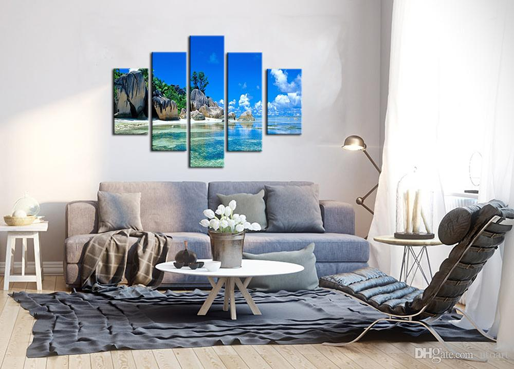 Modern Digital Picture Print on Canvas Seascape Custom Wall Painting as 5 Parts Wall Art Images for Home Wall