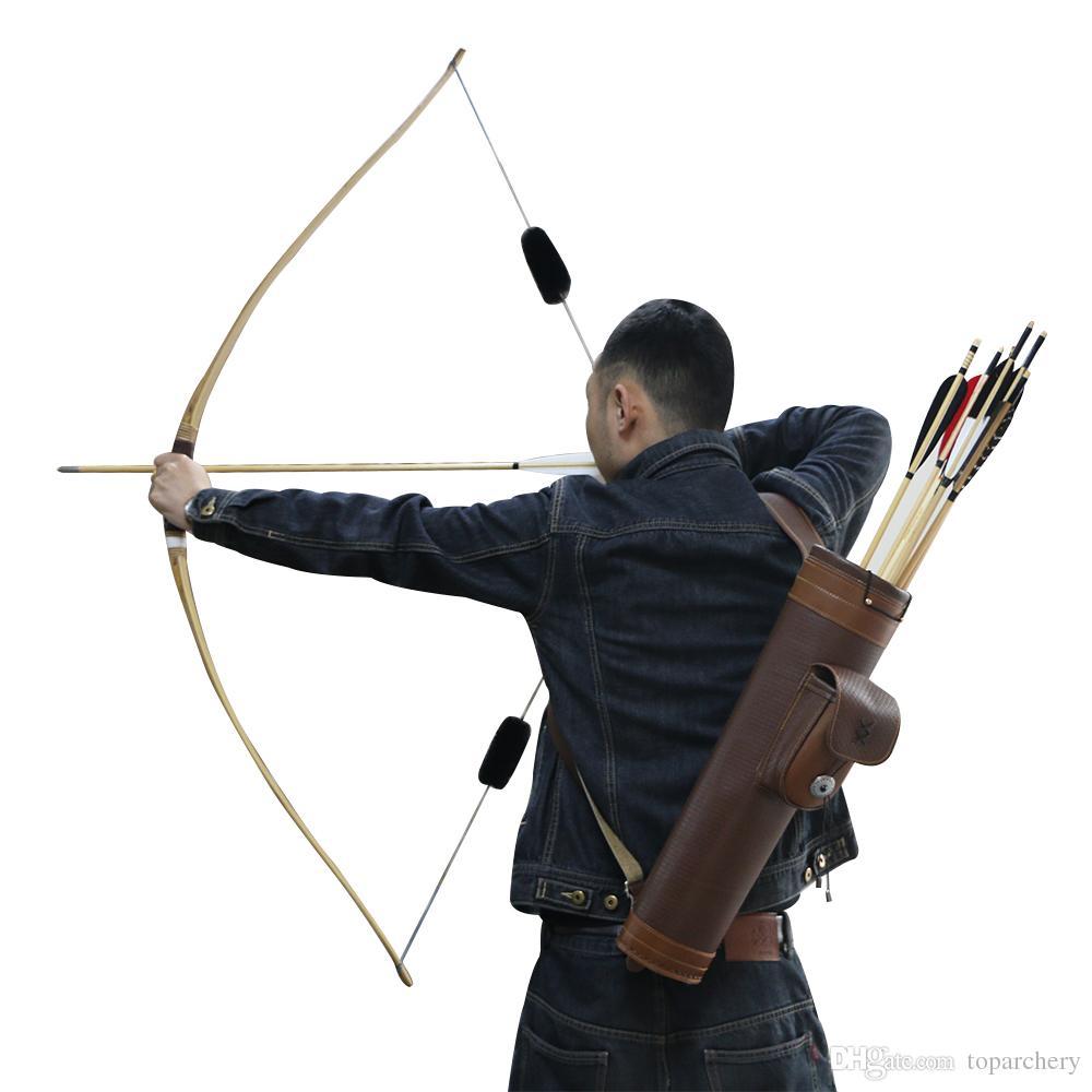 Marrom tradicional de couro de vaca tiro com arco flechas quiver pendurado no ombro equipamento quiver tiro com arco flechas caça ao ar livre
