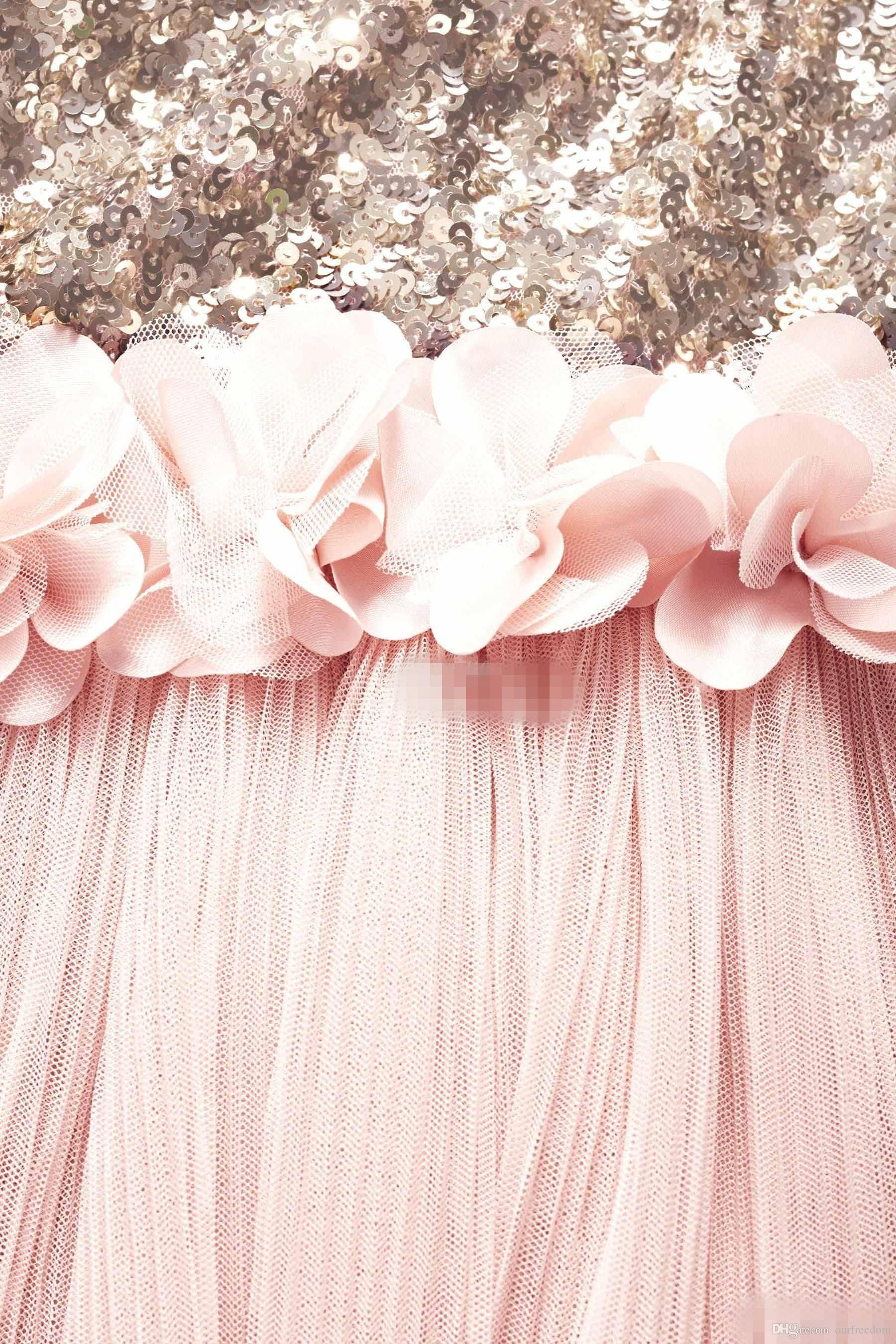 Blush Flower Girls Sukienki Złote Cekiny Ręcznie Made Flower Sash Długość Herbata Tulle Jewel Linia Kids Formalna Sukienka Młodzieżowa Druhna Dress