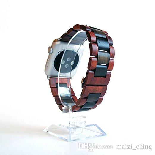 Wooden Band, New Fashion Wooden bamboo Band Wrist Bracelet Strap Band For Apple Smart Watch Series 1/2 38MM/42mm reddish brown