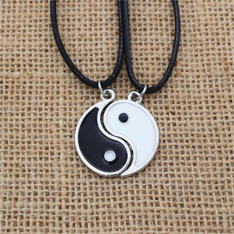 WholesaleCouples Vintage Best Friend Black White Enamel Tai Chi Yin