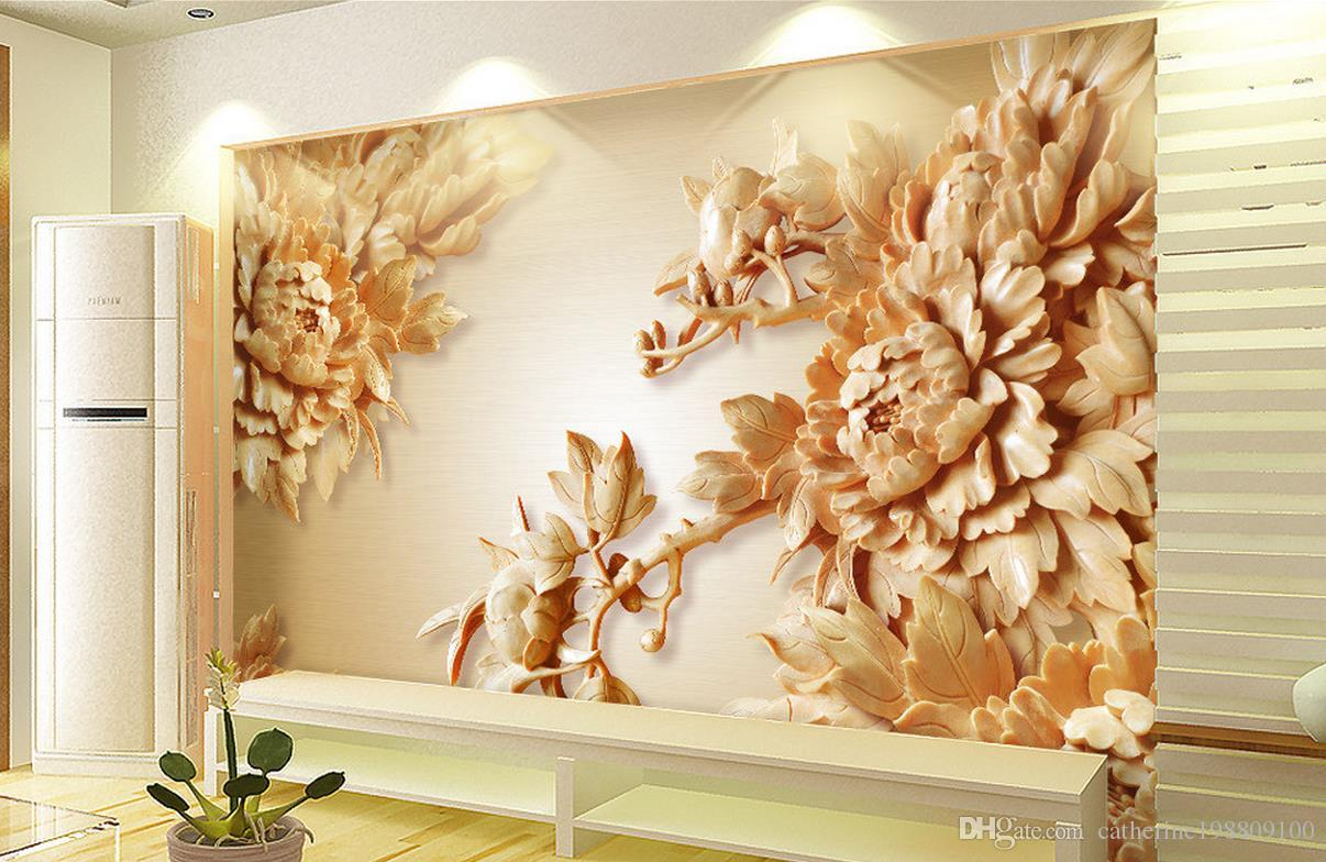 3d Wooden Peony Flower Tv Wall Mural 3d Wallpaper 3d Wall Papers