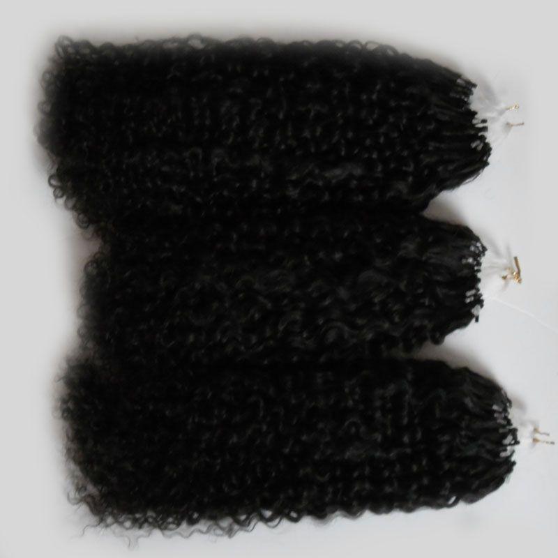 자연 색상 아프리카 곱슬 곱슬 마이크로 루프 헤어 확장 300g 몽골어 변태 곱슬 머리 마이크로 링크 헤어 확장 인간 300s