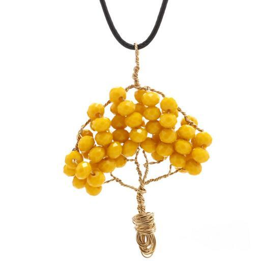 Stone Necklace Women Wire Wrapped Copper Tree Of Life Pendant Necklace Crystal Beads Wisdom Tree Necklaces Women Jewelry Fashion Accessories