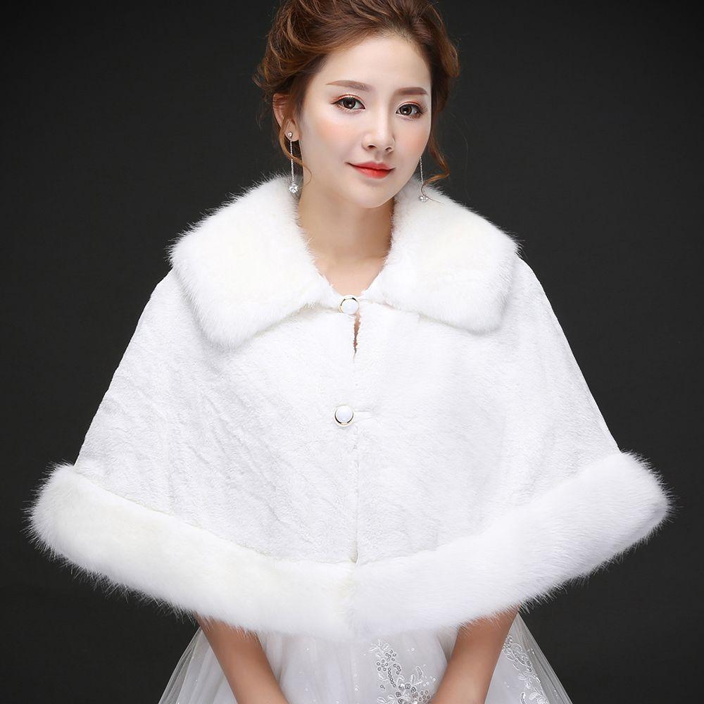 100% реального изображение Elegant White Pearl Люкс шаль обруча пальто куртка болеро пожимает Regular искусственного меха похититель Capes для свадебного банкета