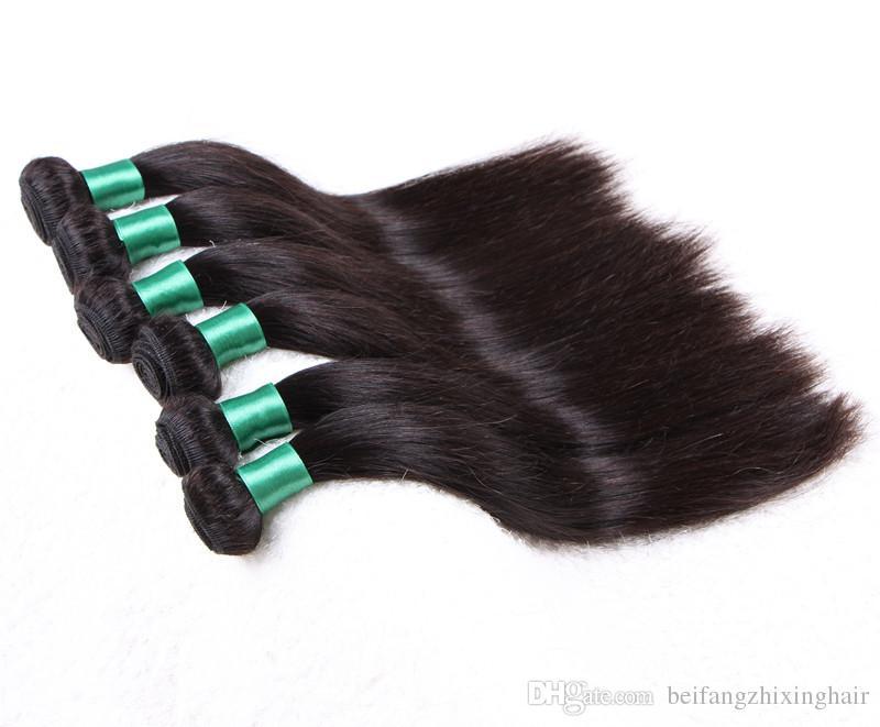 Grade 8A - Faisceau de cheveux à ondes droites en soie à double trame 100% cheveux péruviens humains Couleur naturelle 100g / pc/ DHL gratuit