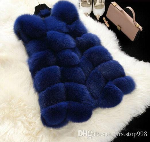 En vente 2017 nouveau automne hiver Imitation fox manteaux de fourrure femmes gilet manteau bleu shopping gratuit