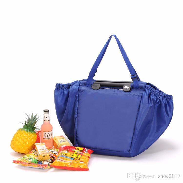Wholesale- Reusable Grab Bag Shopping Grocery Bag Insulated Tote Foldable Supermarket Large Capacity Holds Up To 40 Lbs Trolley Storage Bag