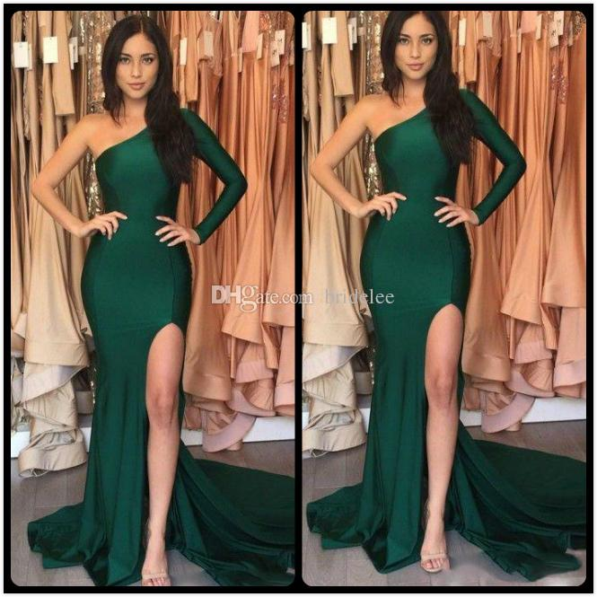 Hot Emerald Green Sexy Split Evening Dresses 2020 Mermaid Stretch Satin Long Sleeves One Shoulder abendkleider Evening Party Celebrity Gowns